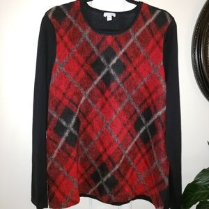 J.Jill Long Sleeve Plaid Front Partial Wool Top